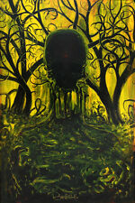 'Skull Growth' Limited Signed Print, painting art surreal trees landscape yellow