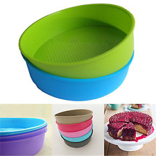 "10"" Round Silicone Cake Mold Pan Muffin Chocolate Pizza Pastry Baking Tray Mould"