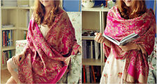 New Autumn Winter Fashion Double Side Flowers Pashmina Cashmere Shawl Scarf Warp