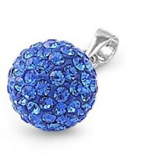 Silver Pendant with Blue Sapphire Crystal 10 mm Pendant Size 10 mm (0.4 inch)