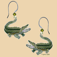Green ALLIGATOR Cloisonne EARRINGS by Bamboo Jewelry STERLING Dangle - Gift Box