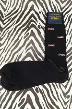 POLO RALPH LAUREN Sock Exquisite Car Embroidery Black Knitted Socks 1 Pair BNWT