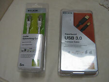 Dos nuevos Sellados Belkin Cables Cat 5E 5 metros & Super Speed USB 3.0 1M