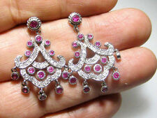 2.75Ct Genuine Diamond And Pink Sapphire Chandelier Earring Solid 14K White Gold