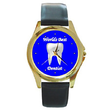 WORLDS BEST DENTIST DENTAL DENTISTRY ROUND WATCH **GREAT GIFT IDEA**