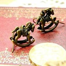 Vintage style bronze rocking horse earrings