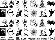 "Black Halloween RIP 5""X7"" Card Fused Glass Ceramic Decals 13-CC-203"