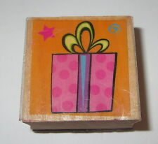 "Gift Wrapped Present Rubber Stamp Wood Mounted Bow Star Swirl 1.5"" Square"
