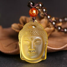2016 Fashion Buddha Yellow Crystal Necklace Pendant Lucky Citrine Amulet Hot