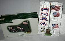 New - Dept 56 USA American Flags Eagle Pole Topper Set of 7 Snow Village 52943