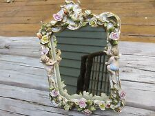 Magnificent Dresden Porcelain Mirror with Cherubs & Flowers circa 1800s