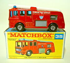 "Matchbox SF Nr.35A Merryweather Fire Engine metallicrot frühe ""G"" Box"
