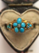 Antique Victorian Turquoise And Rose Cut Diamond Cluster Yellow Gold Ring