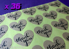36x Love Heart THANK YOU Kraft Stickers Wedding Favours Vintage Craft Seals Gift