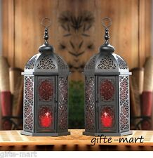 """2 LARGE red black Moroccan 16"""" tall Lantern Candle holder light outdoor terrace"""