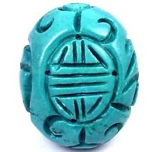 Blue Turquoise Hand Carved Oval Pendant Bead