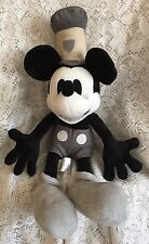 Disney Store Plush Stuffed Monochrome Mickey Mouse Steamboat Willie 17""