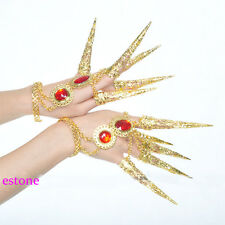 Women's Girl's Dancing Belly Dance Nail Finger Indian Thai Golden Finger Jewelry