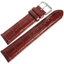 18mm deBeer Mens Havana Brown Crocodile-Grain Leather Watch Band Strap
