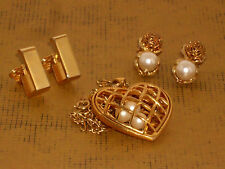 Vintage Jewelry Lot of 3 goldtone *2 clip on earrings *avon heart necklace