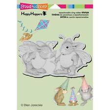 New Stampendous RUBBER STAMP cling HOUSE MOUSE HAPPY HOPPERS Bumble bunnies