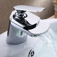 Modern Waterfall Beautiful Bathroom Basin Sink Mixer Tap Chrome Brass Fauce