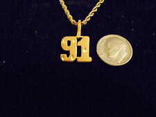 bling gold plated sport didget number 91 pendant charm chain hip hop necklace gp