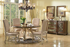 5Pc Dining Set Round Table Linen Back Nailhead Trim Chairs Dining Room Furniture