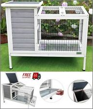 "Rabbit Hutch Cage Coop Bunny House Ceder Wood Iron Wire Indoor Home 36""x22""x30"""