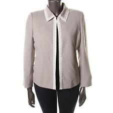 TAHARI ASL Island Kiss Beige/Cloud Faux Pearls Accented Blazer Jacket 6