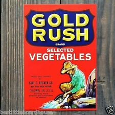 Vintage Original GOLD RUSH SELECTED VEGETABLE CRATE LABEL nos 1950's never used