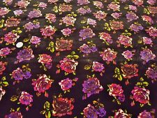 PRINTED STRETCH VELVET-AUBERGINE/PU FLORAL -DRESS/CRAFT FABRIC-FREE P&P(UK ONLY)