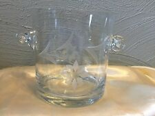 Cut Crystal Ice Bucket Etched Flower and leaves Tab Handles