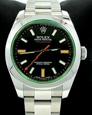 Rolex Milgauss 116400 Green Crystal Black Dial Oyster CARD 2012 MINT NO RESERVE!