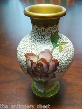 Antique Chinese vase Cloisonne Red Chrysanthemum Flowers on crackle white c1920s