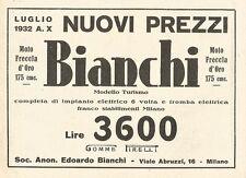 W2994 Moto Freccia d'Oro 175 cmc BIANCHI - Pubblicità del 1932 - Old advertising