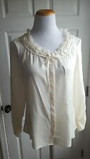 ELIE TAHARIE Nordstrom Size M Ivory Silk Blend Top Shirt Work Office Blouse