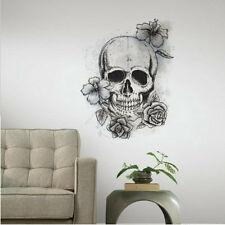 NEUTRAL FLORAL SKULL wall sticker MURAL 1big decal skeleton room decor teen dorm