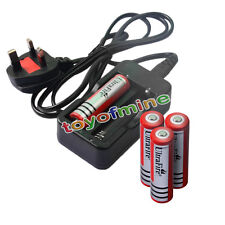 4x 4.2V 18650 Li-ion 6000mAh Red Rechargeable Batter + Charger UK Plug