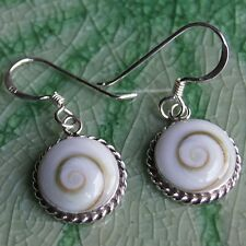 Top Thai Circle Shiva Eye Earring 925 Sterling Silver