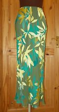 MONSOON olive green lime turquoise floral SILK chiffon evening party skirt 10 38