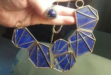 "Studio Barse Blue Lapis Yellow Bronze 17"" Bib Necklace HSN $249! & OG Lapis Ring"