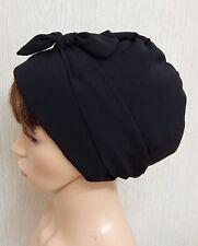 Bufanda de Cabeza de mujer negro, envoltura de cabeza para dormir, Bad Hair Day Sombrero, Gorra musulmana