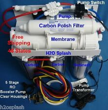 RO 80gpd 5 Stage Clear Booster Pump Reverse Osmosis System Water Filter H2O Hose