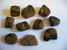 5 x BROWN & BLACK CHIASTOLITE STONES 19mm - 23mm CRYSTAL TUMBLESTONES PEBBLES