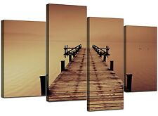 Extra Large Sepia Brown Canvas Wall Art Pictures 130cm Prints Set 4045