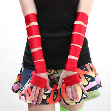 1045 Red Shiny Cut Out Fingerless Gloves Spandex Burlesque Costume Anime Cosplay