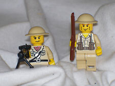 Lego 2 Custom Minifig WW2 Modern Warfare British Soldiers Army Machine Gun Crew