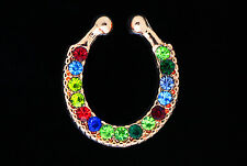 Charms Fake Septum mix color Crystal Nose Ring Non Piercing Hanger Clip rose AE