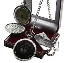 PERSONALISED Custom Engraved Pocket Watch Cash Money Clip Card Holder Gift Set